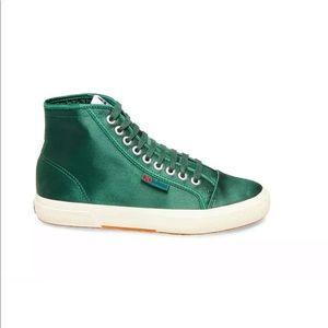 Superga X Alexa Chung Satin High Top Sneaker Moss